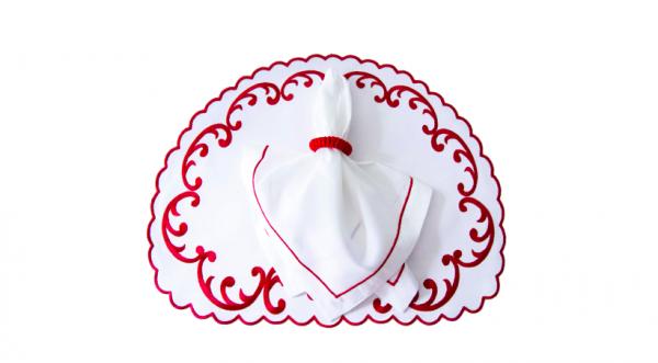 Linho flor de liz branco com vermelho fundo branco