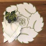 Linho folha monograma verde + G. linho branco ponto cheio verde folha + Pg hortencia verde e azul